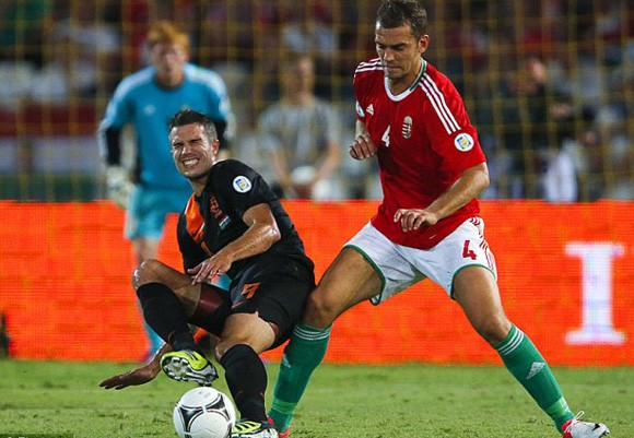 Van Persie (trái) trong màu áo ĐT Hà Lan