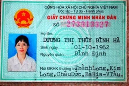 Chứng minh thư của nạn nhân nguyên là thủ quỹ xã Kim Long