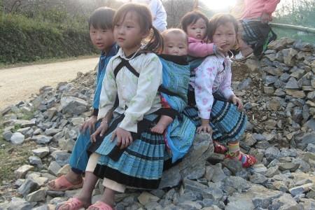 Những em bé Mông địu em đi chơi tết