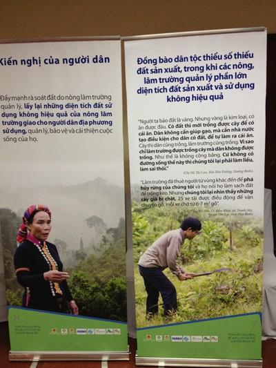 Người dân nói về hiện trạng sử dụng đất ở địa phương. Ảnh: Nguyễn Hoài