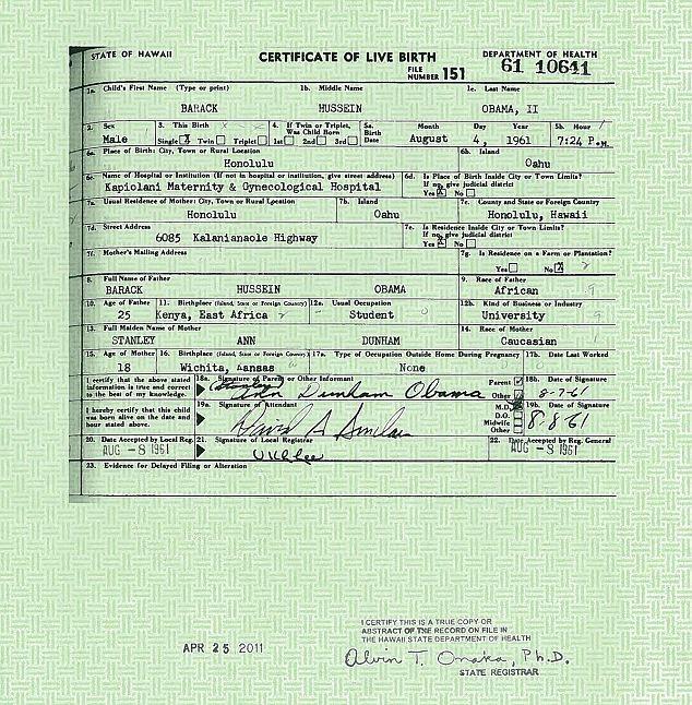 Bản sao giấy khai sinh của Tổng thống Obama được công bố hôm 27-4