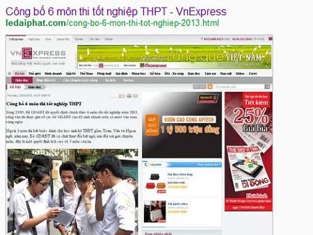 Bản lưu dấu vết trên Google cho thấy website ledaiphat.com là khởi nguồn của việc tung tin đồn ngày 23/2 Bộ GD-ĐT công bố môn thi tốt nghiệp THPT.