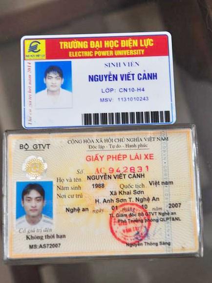 CMTND và thẻ sinh viên của đối tượng Cảnh