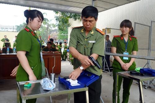 Hội thi năm nay được tổ chức tại 3 cụm thi đấu ở Học viện Cảnh sát Nhân dân. Trên ảnh là cụm thi đấu số 3 gồm 8 học viện, trường học thuộc lực lượng công an khu vực phía Bắc