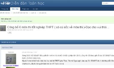 Thông tin trên diendantoanhoc.net nói về việc công bố thi 6 môn tốt nghiệp năm 2013. (Ảnh chụp màn hình)