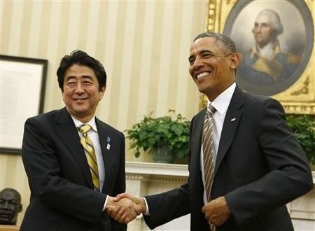 Thủ tướng Nhật Bản Shinzo Abe gặp tổng thống Mỹ Obama hồi cuối tháng hai