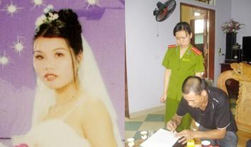 Nguyễn Thị Cúc (bìa trái) và chồng Nguyễn Xuân Hùng đang ký biên bản làm việc Ảnh: CAND