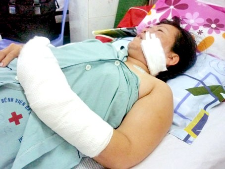 Nạn nhân đang nằm điều trị tại bệnh viện