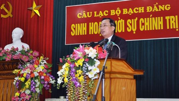 Bí thư Thành ủy Hải Phòng Nguyễn Văn Thành nói chuyện tại CLB Bạch Đằng sáng 17-2