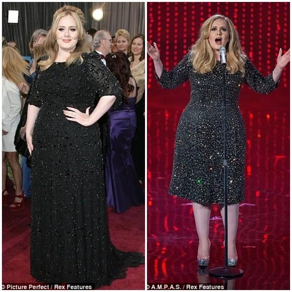 Hai bộ váy trong phần trình diễn của Adele tại lễ trao giải Oscar làm cô thon thả hơn rất nhiều