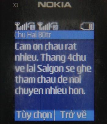 Tin nhắn cám ơn của ông Hải gửi đến anh Phú