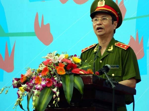 Trung tướng Phạm Quý Ngọ, Thứ trưởng Bộ Công an, Ủy viên Ban chấp hành Trung ương Đảng, đến tham dự và phát biểu