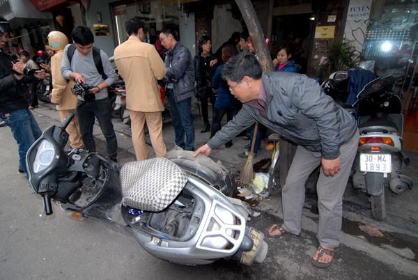 Chiếc xe SCR của chị Hiền bị hư hỏng nặng