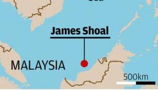 Bãi đá James Shoal nơi Hải quân Trung Quốc tràn xuống tập trận đổ bộ chỉ cách bờ biển Malaysia 80 km