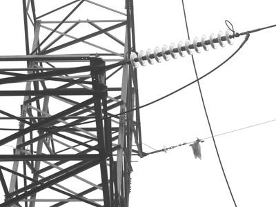 Xác và dây diều mắc trên dây điện cao thế gây phóng điện. Ảnh: Phong Cầm