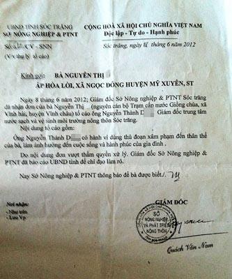 Văn bản trả lời đơn của Giám đốc Sở NN&PTNT tỉnh Sóc Trăng