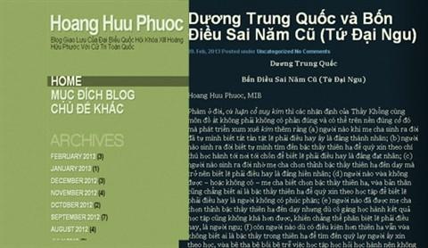 Bài viết Dương Trung Quốc - Bốn điều sai năm cũ đăng trên blog được cho là của ĐBQH Hoàng Hữu Phước