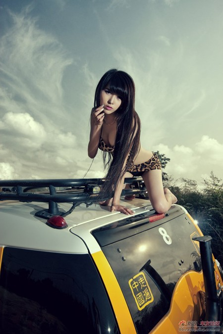 Bikini 'hổ báo' quyến rũ bên xe - ảnh 10