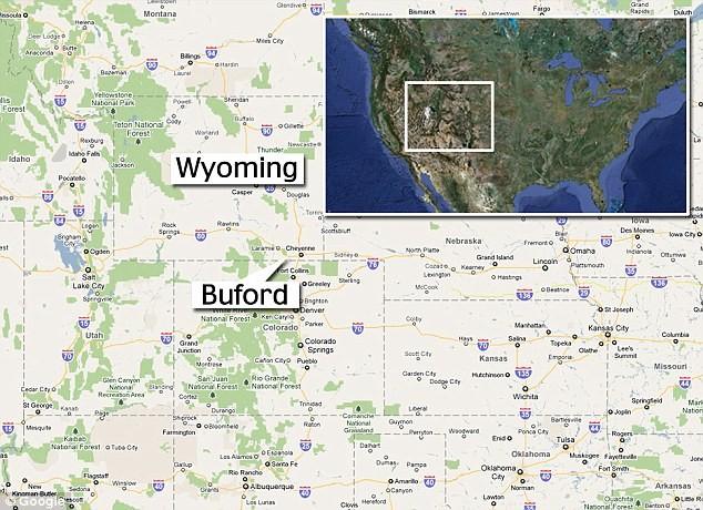 Bản đồ bang Wyoming có thị trấn Buford