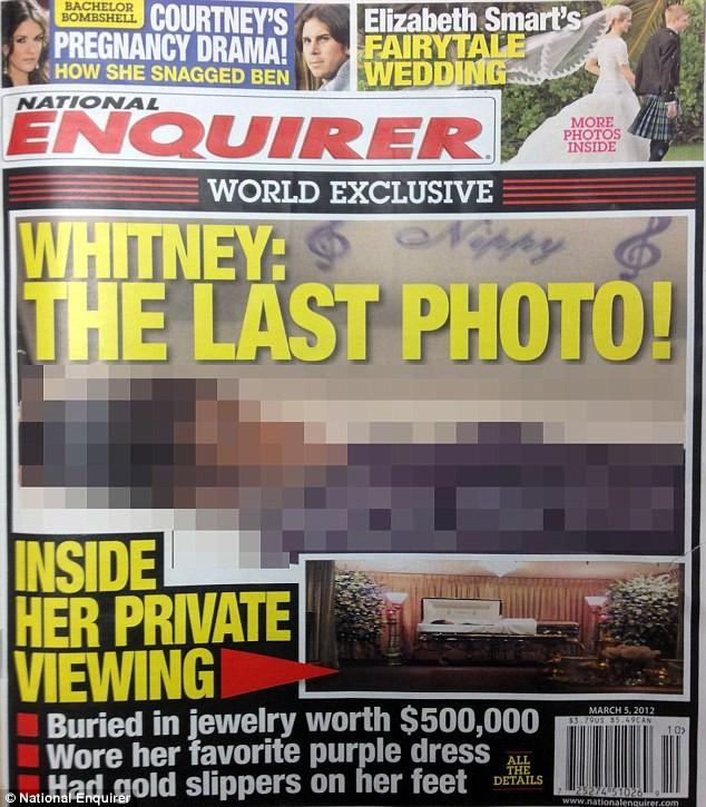 Bức ảnh chụp thi thể của Whitney nằm trong quan tài trên trang nhất của tờ tạp chí National Enquirer