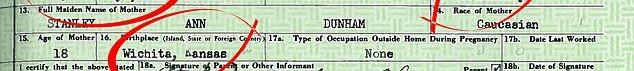 Thông tin về mẹ Tổng thống trong giấy khai sinh