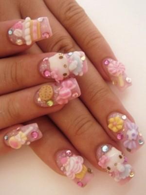 Ngộ nghĩnh với nail 'Hello Kitty' - ảnh 1