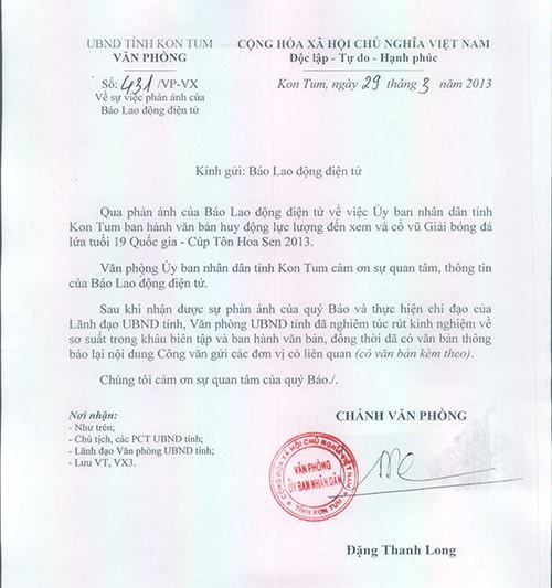 Công văn của UBND tỉnh Kon Tum gửi Báo Lao Động. Ảnh: L.Đ.Dũng