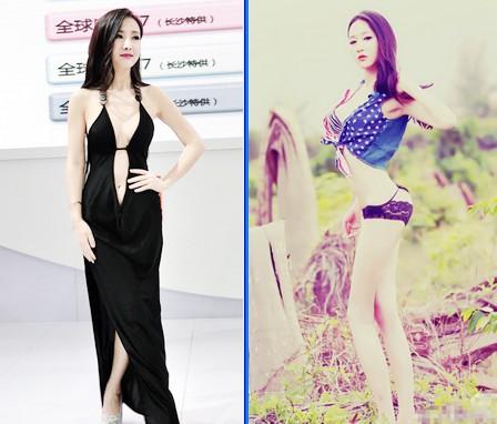 """""""Bom sex"""" Can Lộ Lộ (ảnh phải) đang bị đe doạ soán ngôi bởi người mẫu mới Ngô Hy Nhi             (ảnh trái) bởi độ táo bạo của cô nàng này xem chừng không hề kém cạnh đàn chị."""