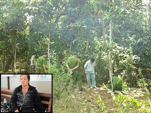 Công an truy tìm thi thể bà Dương Thị Thủy Bình Hà trong vườn nhà bà Lê Thị Hường (ảnh lớn), bà Lê Thị Hường (ảnh nhỏ)