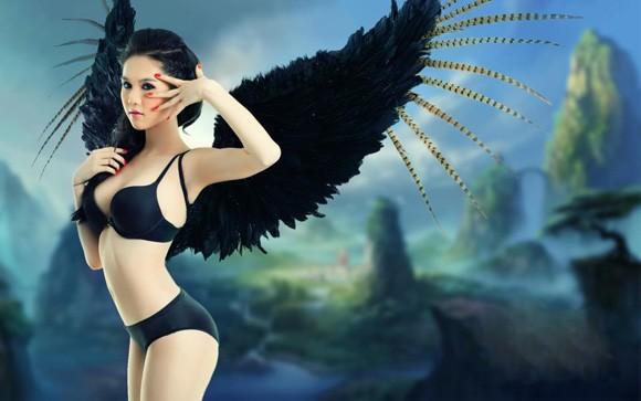 Ngọc Trinh 'mọc cánh' thiên thần và ác quỷ - ảnh 4