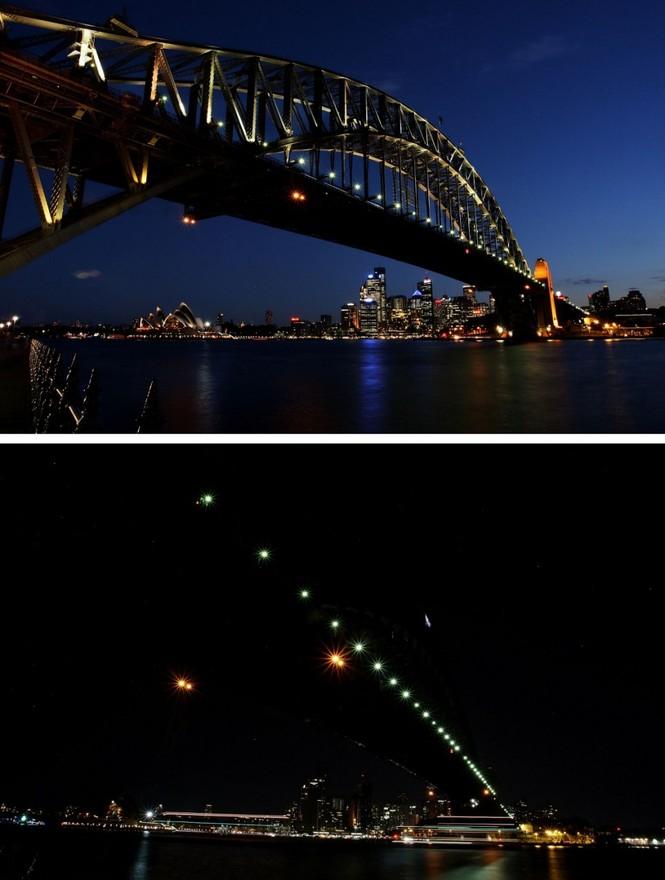 Thành phố Sydney chìm trong bóng đêm, hưởng ứng giờ Trái đất 2012.