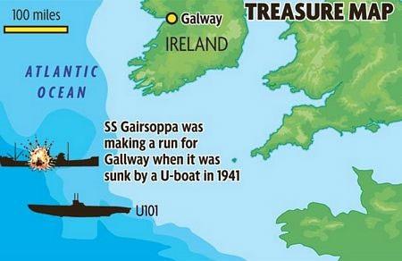 Mantola nằm cách vị trí của xác tàu Gairsoppa, bị chìm năm 1941, khoảng 160km
