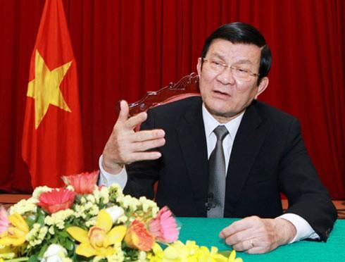Chủ tịch nước Trương Tấn Sang. Ảnh: VOV