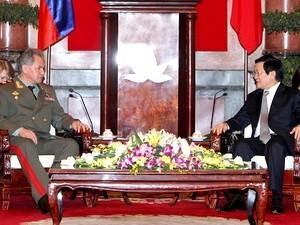 Chủ tịch nước Trương Tấn Sang tiếp Đại tướng Sergei Shoigu