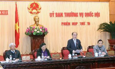 Chủ tịch Quốc hội Nguyễn Sinh Hùng chủ trì và phát biểu khai mạc Phiên họp thứ 15 của Ủy ban Thường vụ Quốc hội khóa XIII