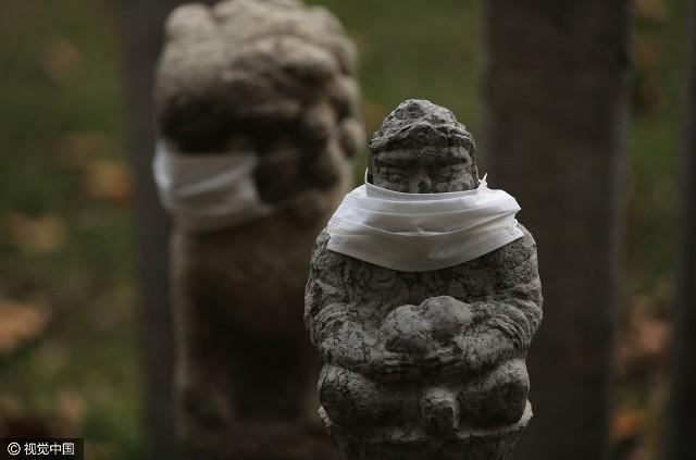 Không khí ô nhiễm, sư tử đá Trung Quốc được... đeo khẩu trang - ảnh 6