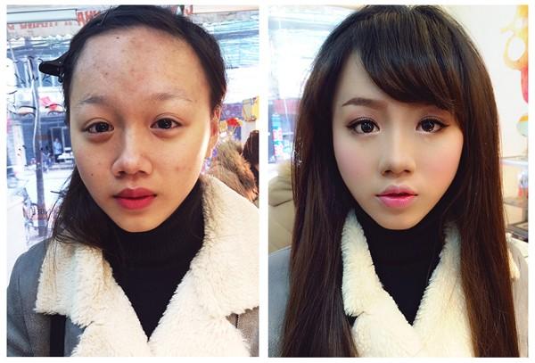 Giật mình nhan sắc thiếu nữ trước và sau trang điểm  - ảnh 2