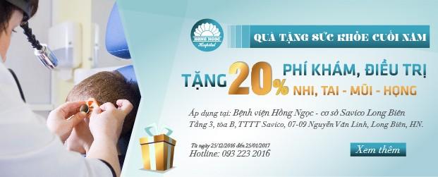 Ưu đãi 20% dịch vụ Tai Mũi Họng và khoa Nhi tại Hồng Ngọc Savico - ảnh 1