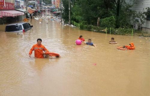 Hàng loạt ôtô bị cuốn trôi xuống sông Hàn Quốc - ảnh 2