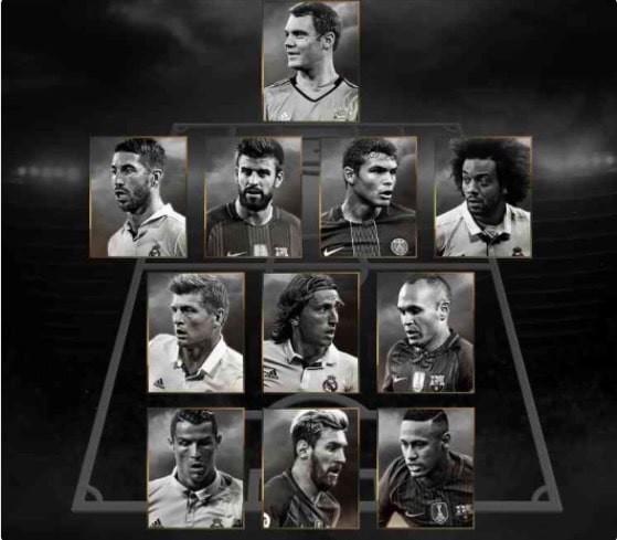 Hé lộ đội hình tiêu biểu FIFA năm 2016 - ảnh 1