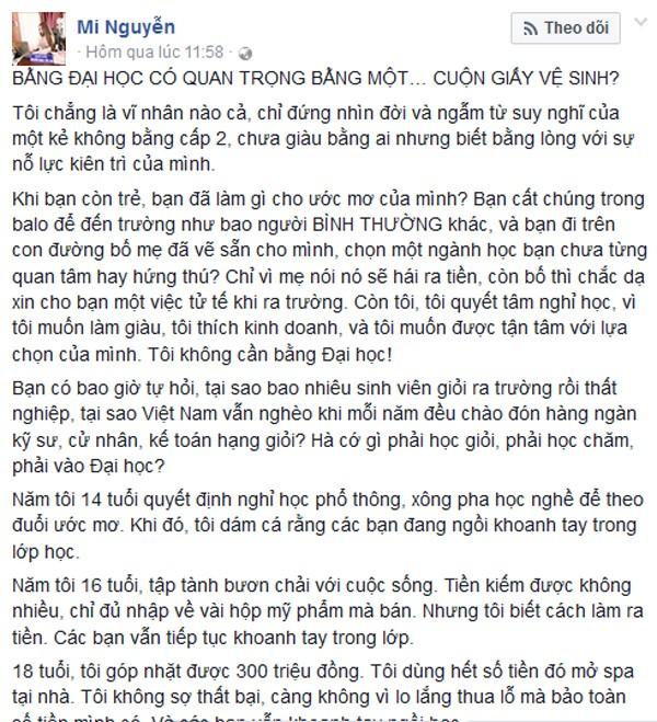 Hotgirl Biên Hòa gây bão mạng vì ví 'bằng đại học không bằng một cuộn giấy... vệ sinh'  - ảnh 1