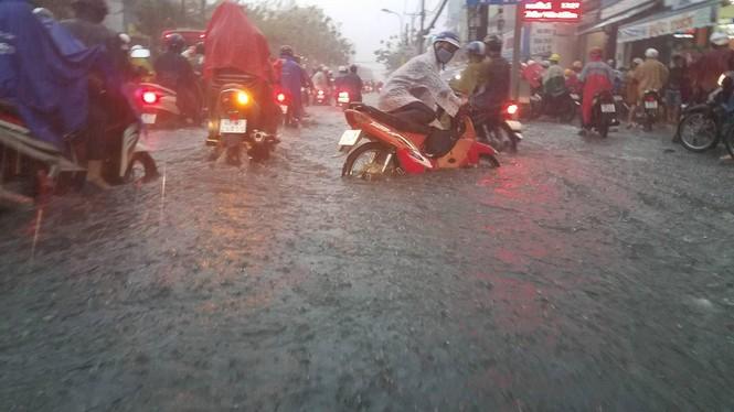 Đường phố Sài Gòn thành sông trong cơn mưa mù trời - ảnh 3