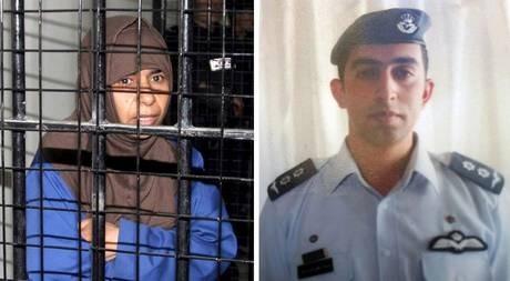 Nữ tù nhân Sajida al-Rishawi (trái) và phi công Maaz al-Kassasbeh. (Ảnh: Daily Mail)