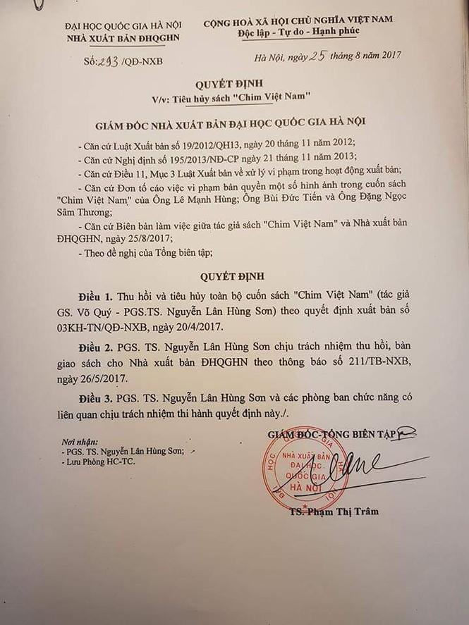 Thu hồi, tiêu hủy sách 'Chim Việt Nam'  - ảnh 1