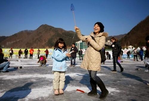 Bắt cá hồi bằng tay không trên sông băng Hàn Quốc - ảnh 3