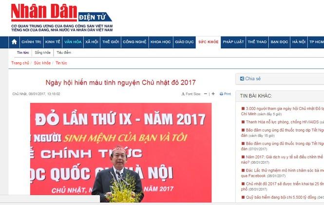 Chủ Nhật Đỏ 2017, Báo Tiền Phong - ảnh 1